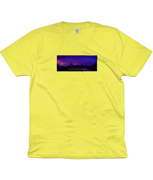 Find the Light. Men's short sleeved 'Rainbow at Night' cotton tee. Lighter colours.