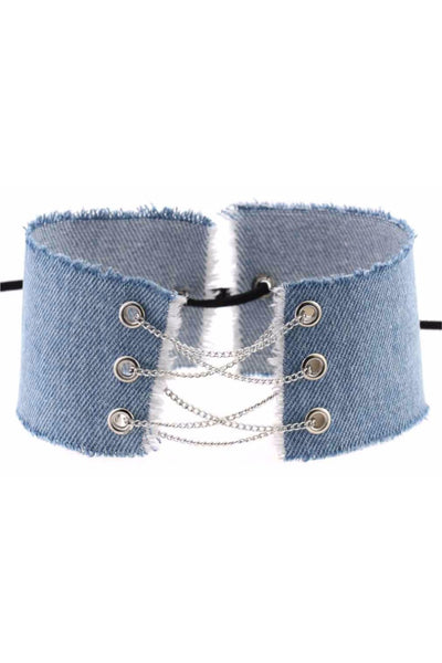 Blue Denim Chain Choker