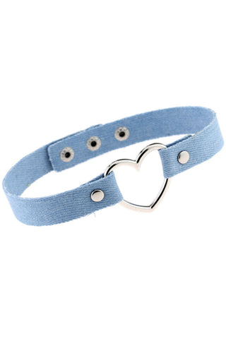 Light Denim Blue Metal Heart Adjustable Choker