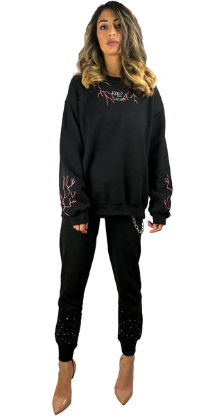 Red Bolt Black Sweatshirt. Women's