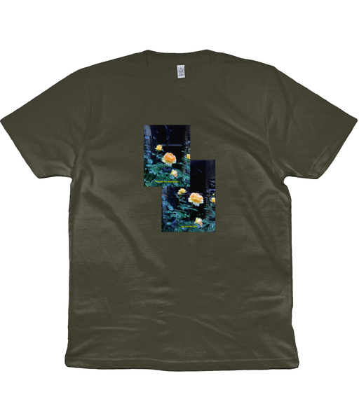 Find the Light. Short sleeved 'Church Bloom' cotton tee. Darker colours.
