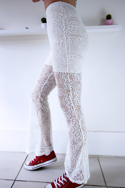 Pretty Floral Handmade Cream Lace Flares