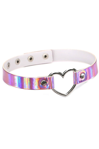 Pink Holographic Metal Ring Adjustable Choker