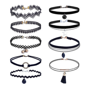 9 Pieces Choker Necklace Set Stretch Velvet Classic Gothic Tattoo Lace Choker