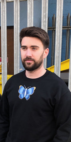 REBORN Hand Painted Butterfly Sweatshirt Men's