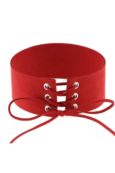 Red Lace Up Choker