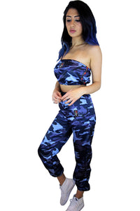 'Evolve' Satin Blue Camo Tracksuit Co-ord **Limited Edition**