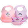 Waterproof Silicone Pink and Purple Baby Bibs