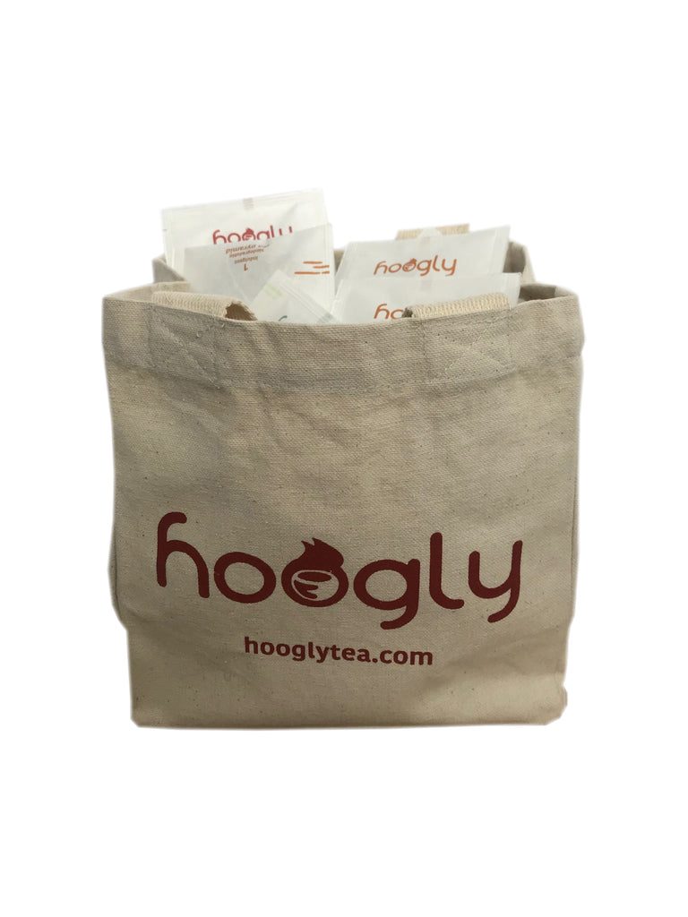 Hoogly Bag filled with a mixed selection of 50 enveloped tea bags