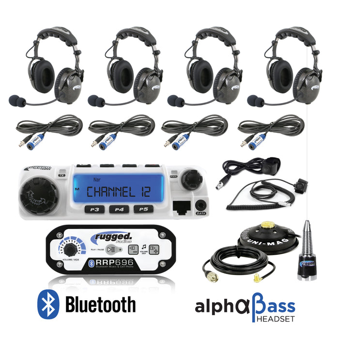 RRP696 4-Place Intercom with 60 Watt Radio and AlphaBass Headsets