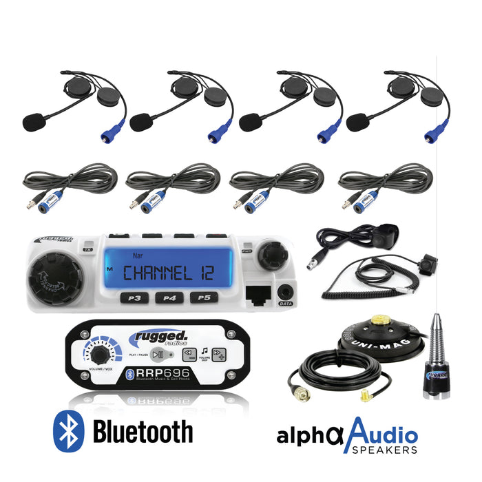 RRP696 4-Place Intercom with 60 Watt Radio and Alpha Audio Helmet Kits