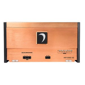 Diamond Audio HX1200.1D 1200 Watt 1 Channel Amp top view with adjustments