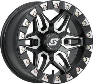Sedona Split Six Beadlock Wheel - Black with Silver Accents