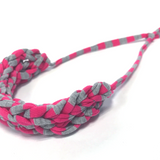 T-Shirt Yarn Necklace- Grey-Pink Stripes
