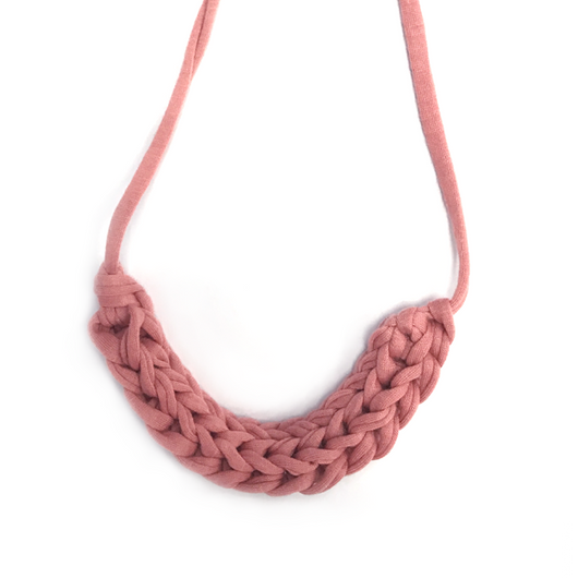 T-Shirt Yarn Necklace- Peachy Pink
