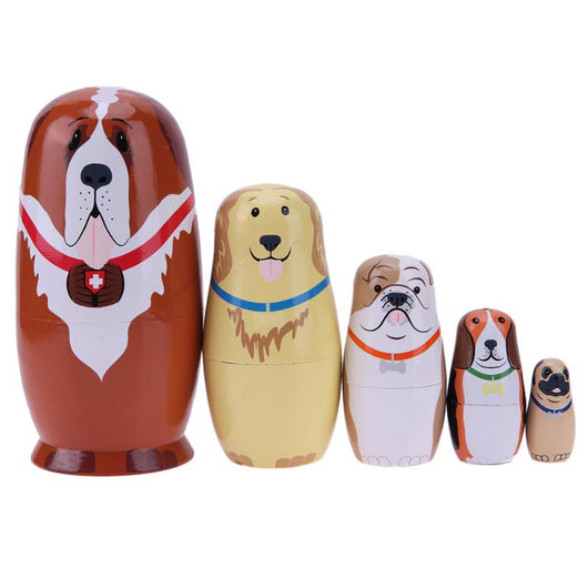Handmade 5 pcs wooden dog nesting matryoshka Dolls