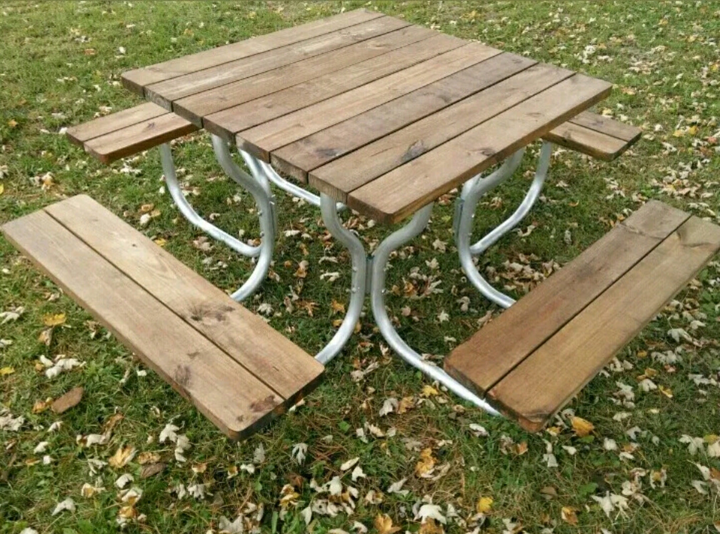 Picnic Table Square Top With Aluminum Frame Rosendale Picnic - Treated lumber picnic table