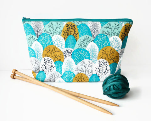 Teal Trees knitting project bag