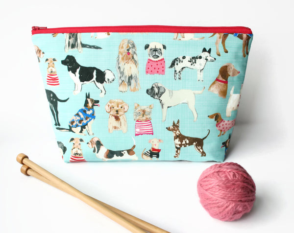 Dogs Sock Knitting Project Bag - Cherry Plum Tree