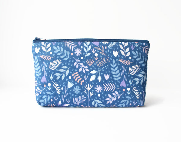 Blue & Purple Floral Padded Pencil Case - Cherry Plum Tree