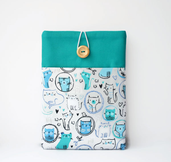 Cats iPad Pro 9.7, 12.9 Case - Teal and Grey - Cherry Plum Tree