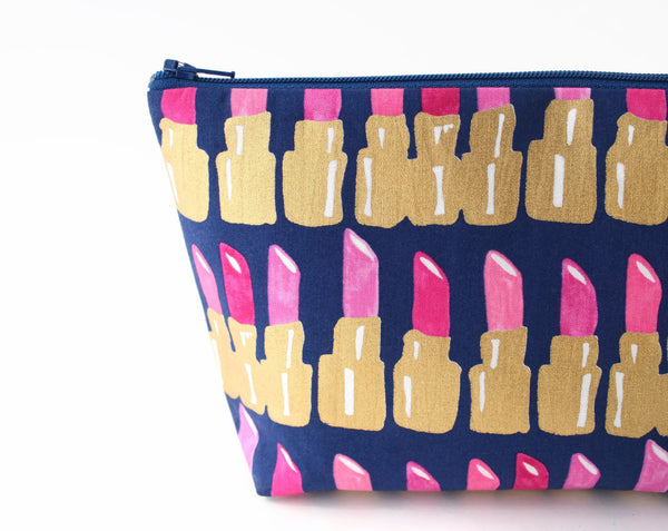 Lipstick Makeup Bag - Metallic Gold and Blue - Cherry Plum Tree