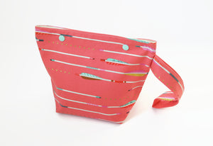 Sock Knitting Project Bag - Arrows on Coral - Cherry Plum Tree