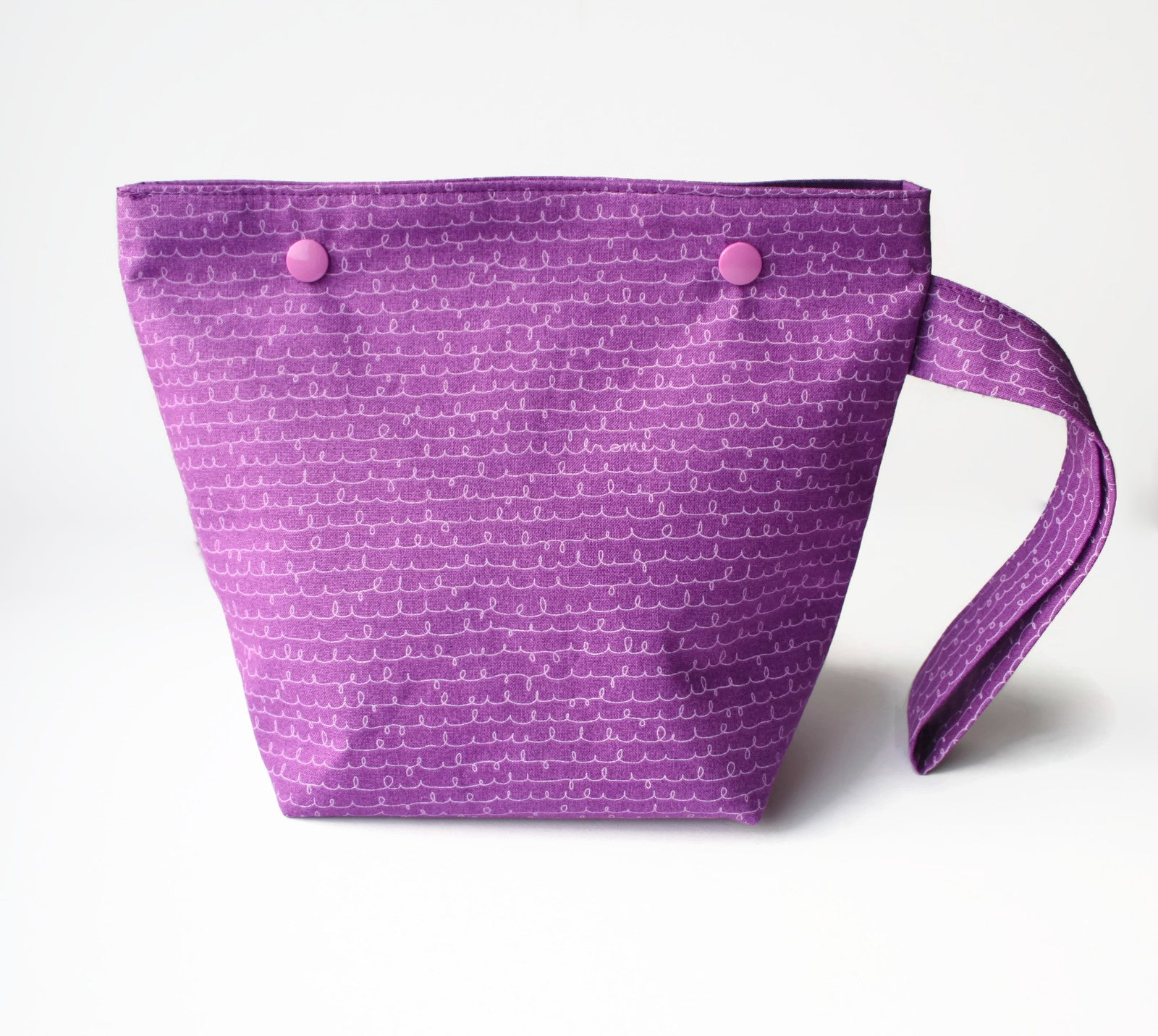 Purple Sock Knitting Project Bag with Snaps - Cherry Plum Tree