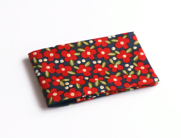 Red and Navy Flower Card Wallet - Cherry Plum Tree