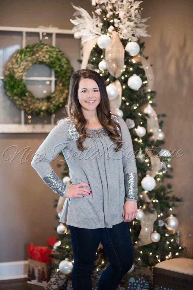 Grey Sequin Tunic - Nico Bella Boutique