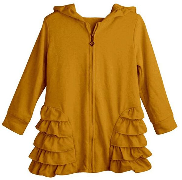 Mustard Girls Ruffle Zip Up Hood Cardigans - Nico Bella Boutique