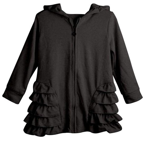 Black Girls Ruffle Zip Up Hood Cardigans - Nico Bella Boutique