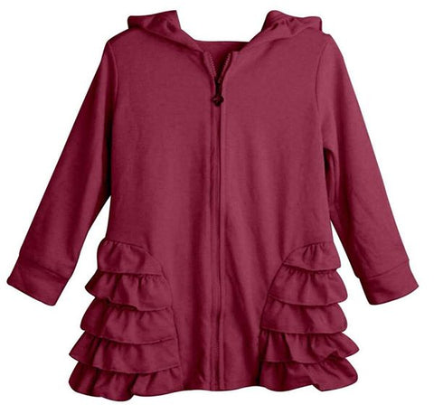 DEFECTED - Burgundy Girls Ruffle Zip Up Hood Cardigans - Nico Bella Boutique