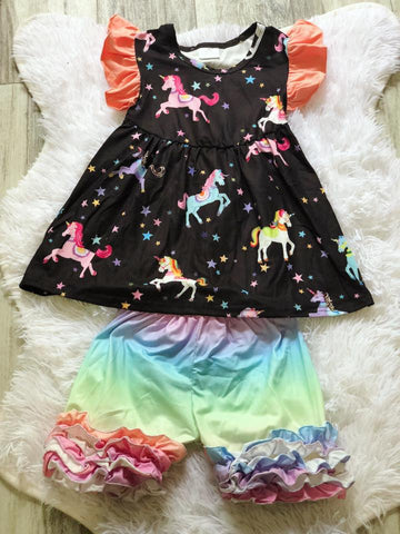 Unicorn Rainbow Short Set - Nico Bella Boutique