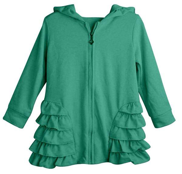 Aqua Girls Ruffle Zip Up Hood Cardigans - Nico Bella Boutique