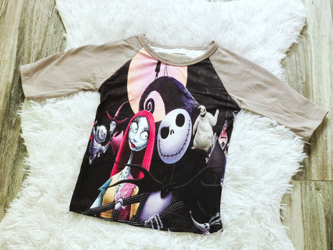 Nightmare Before Christmas Scene Raglan - Nico Bella Boutique