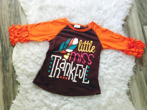 Little Miss Thankful Icing Raglan - Nico Bella Boutique