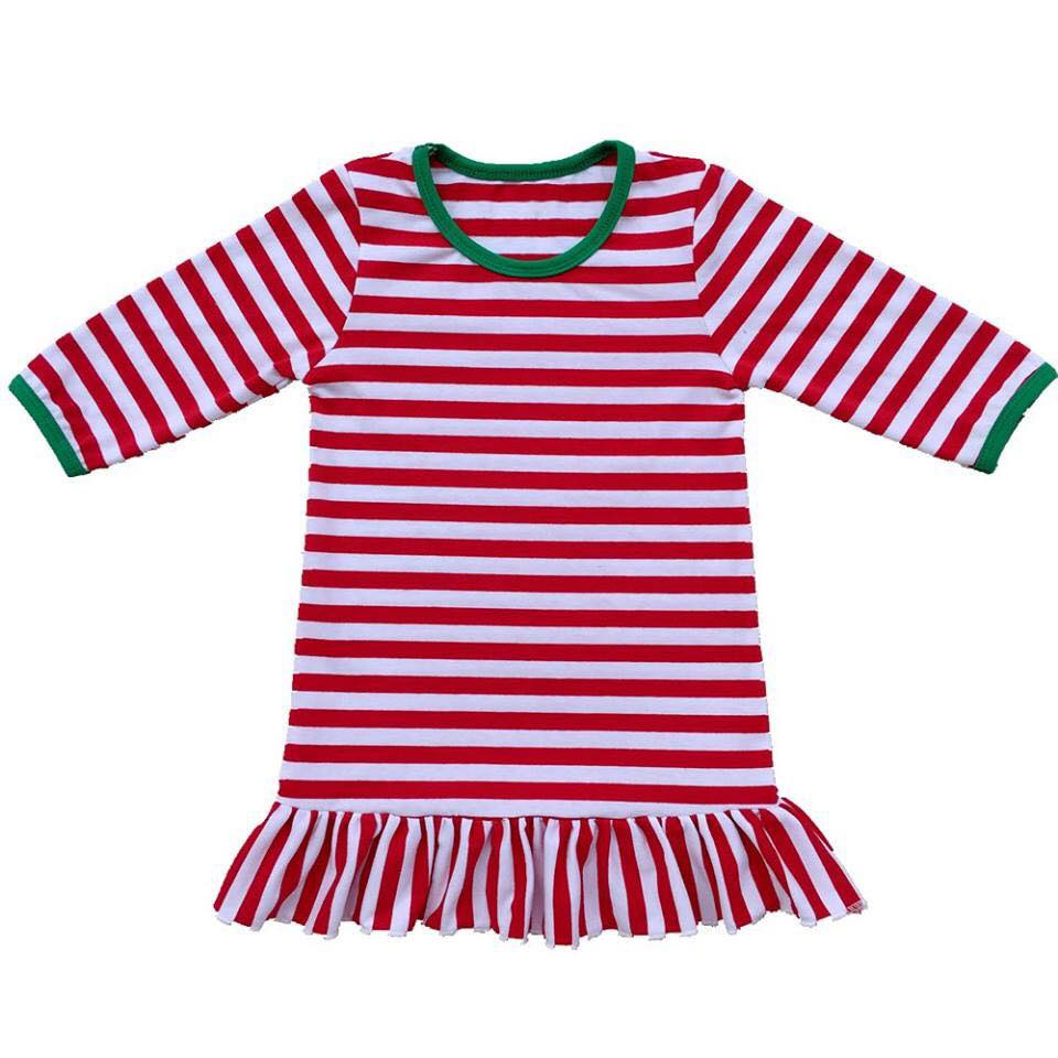 Girls Red Stripe Christmas Pajama Gown - Nico Bella Boutique