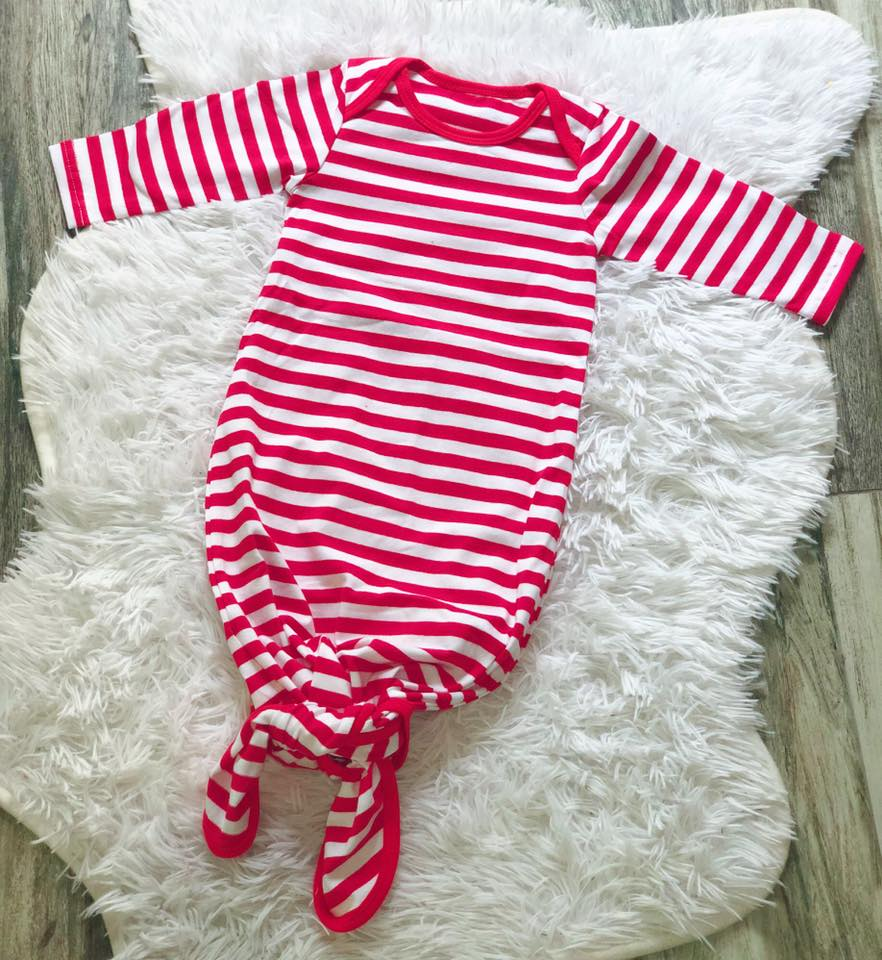 Baby Red Stripe Knot Gown - Nico Bella Boutique