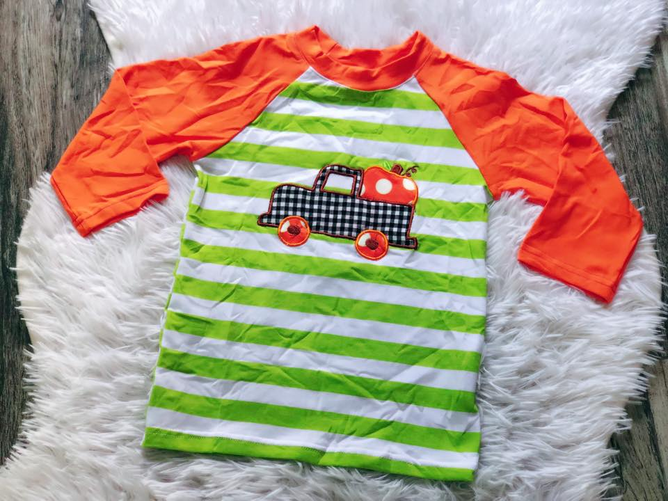Boys Pumpkin Truck Applique Raglan - Nico Bella Boutique
