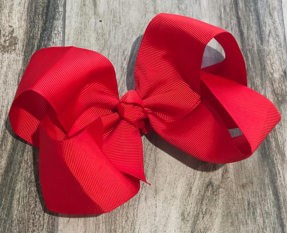 Red Solid Girls Hair Bow - Nico Bella Boutique