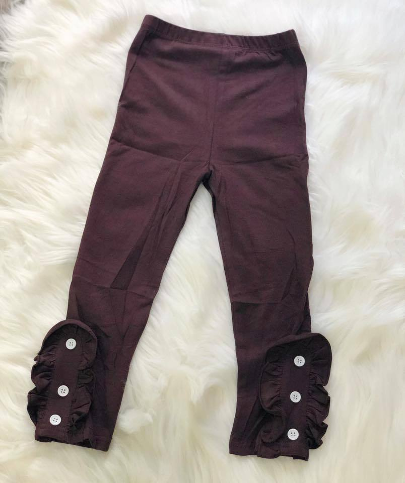 Brown Side Button Ruffle Leggings - Nico Bella Boutique