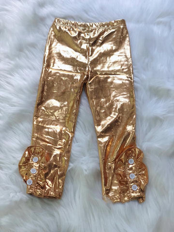 Gold Side Button Ruffle Leggings - Nico Bella Boutique