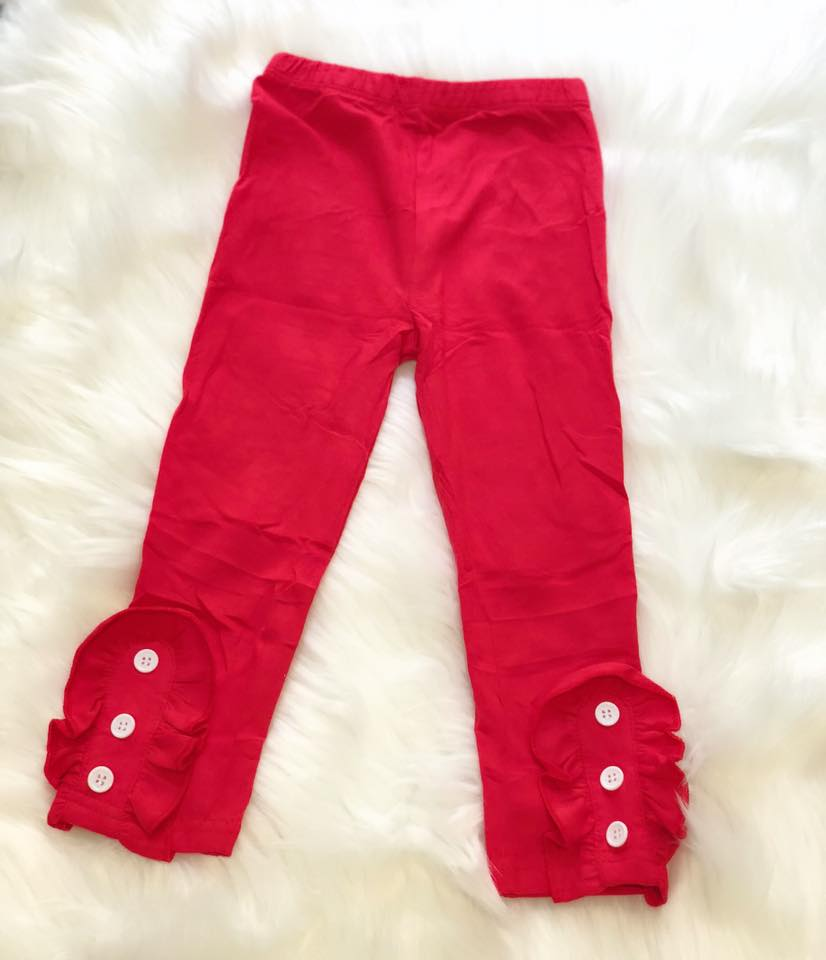 Red Side Button Ruffle Leggings - Nico Bella Boutique