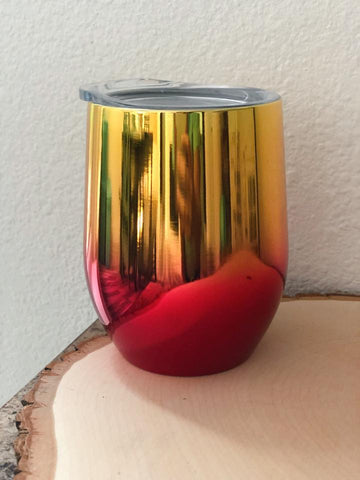 Gold & Red Metallic Ombre Wine Cup - Nico Bella Boutique