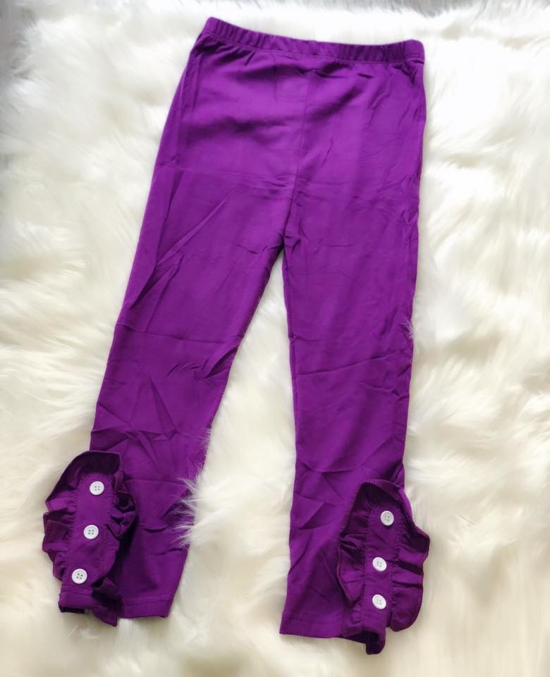 Purple Side Button Ruffle Leggings - Nico Bella Boutique