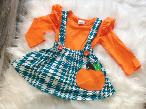 Pumpkin Overall Skirt Set - Nico Bella Boutique