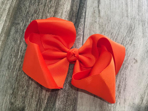 Orange Solid Girls Hair Bow - Nico Bella Boutique