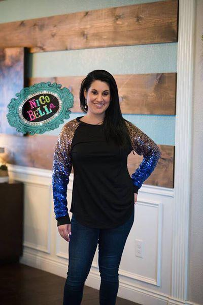 Blue Sequin Sleeve Raglan - Nico Bella Boutique