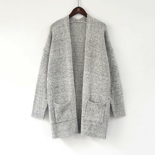 Grey Knit Wool Pocket Cardigan - Nico Bella Boutique